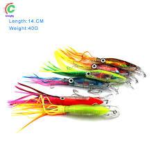 Squid Jig Fishing Lure <b>14cm 40g</b> Octopus Skirt Bait <b>3D Eyes</b> with ...