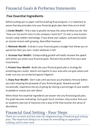 financial goals and performa statement