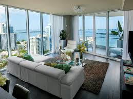 living room furniture miami: living room with waterfront view night or day this urban living room