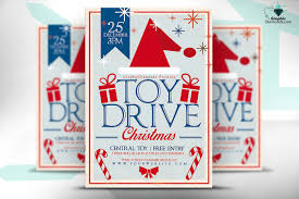 toy drive christmas flyer flyer templates on creative market