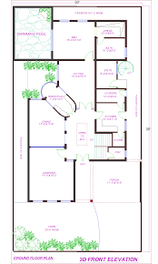 D Front Elevation com  Kanal House Plan   Swimming Pool in     Kanal House Plan   Swimming Pool in DHA Lahore
