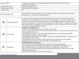Common Core Argumentative Essay Lesson Plan   Essay