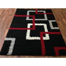 modern black squares shaggy area red gray silver white boxes design abstract multi shag rug black shag rug