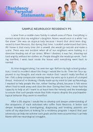 Letter from the Program Director Residency Personal Statements