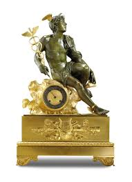 A gilt-bronze and patinated-bronze mantel <b>clock</b>, attributed to Lenoir ...