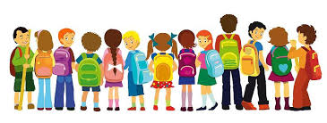 clipart of a line of children with backpacks
