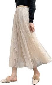 Women Ladies Tutu Skirt Sequins Tulle <b>Sparkling</b> Stars Long Skirts ...