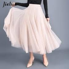<b>Jielur 3 Layer</b> Elegant Tulle Skirts Womens Vintage High Waist A ...