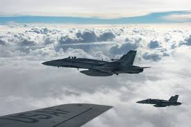 u s department of defense photo essay royal canadian air force cf 18 hornets depart after refueling a kc 135