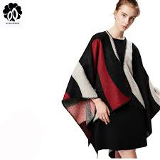 Luxury brand Winter poncho women <b>Fashion</b> Geometric color ...