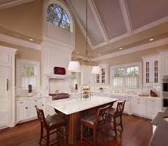 vaulted ceiling curtains kitchen traditional designing tips with breakfast bar walnut island cathedral ceiling lighting ideas