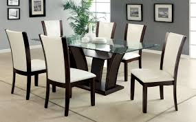 black and white dining table set: white chairs dining table with amazing glass dining table sets also bamboo flooring ideas and white carpet besides painting on the wall indoor plants for