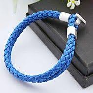 Leather <b>Unique</b> Design, Fashion Bracelet <b>White</b> / <b>Blue</b> For ...