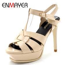 <b>ENMAYER</b> Quality Genuine Leather High Heel Sandals Women ...