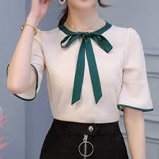 Women Summer Korean Shirt Fashion Casual Half Sleeves <b>Bow Tie</b> ...
