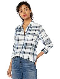 Lucky Brand <b>Women's</b> Navy <b>Classic One</b> Pocket Plaid Shirt at ...