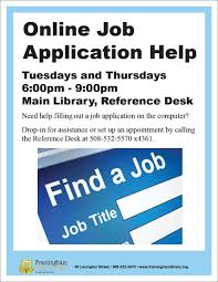 online job application help services framingham public library