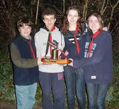 woking district scouts explorer news winning team left to right alex knight hywel finden browne victoria oliver and lisa wood