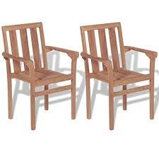 Tidyard <b>Stackable Garden Chairs 2</b> pcs Solid Teak Wood: Amazon ...