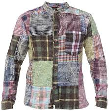 Gheri <b>Men's</b> Check <b>Patchwork</b> Winter Grandad Hippie Shirt: Amazon ...