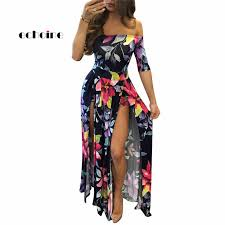 <b>Echoine</b> Women Split Dress Floral Digital Print Half Sleeve Slash ...