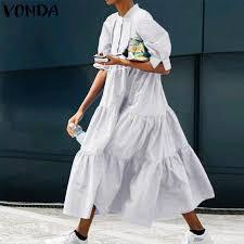 <b>VONDA</b> Shirt Dress <b>2021 Women</b> Casual O Neck Half Sleeve Solid ...