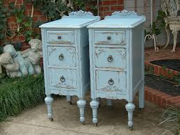 custom order pair of shabby chic nightstands bedside tables hand painted white aqua blue antique distressed bedroom furniture antique distressed furniture