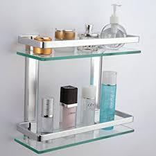 bathroom tempered glass shelf: kes bathroom  tier glass shelf with rail aluminum and extra thick tempered glass shower