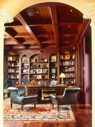 f classic vintage home office library design with wooden bookshelf and brown finish carved teak wood office table plus dark brown leather chair using brown finish home office