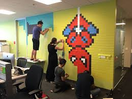 office wall post it art superheroes ben brucker art for the office wall