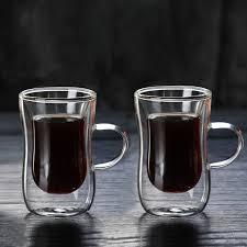 2pcs 80ml <b>Double layer</b> Glass Coffee Cup <b>European</b> style Coffee ...