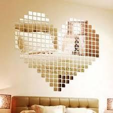 100 Piece <b>Self</b>-<b>adhesive</b> Mirror <b>Tile</b> 3D <b>Wall Sticker</b> Decal <b>Mosaic</b> ...