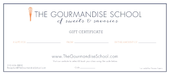 rezclick the gourmandise school gift certificates gift certificate front