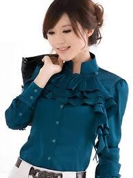 $19 Starting Bid: Blue <b>Silky</b> Tiered Ruffle Blouse Top   Korean ...