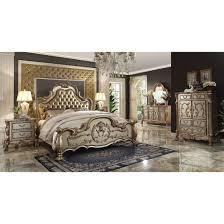ashby pc king size panel bedroom set acme dresden bedroom set in gold patina amp bone
