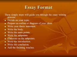 basic guide to writing an essay  what is an essay  an essay can    essay format these simple steps will guide you through the essay writing process  decide on