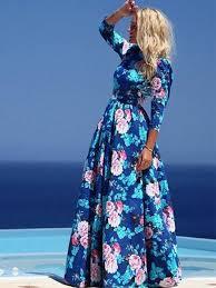 <b>Floral</b> Maxi Dress <b>2019 Women</b> Blue Half Sleeve <b>Summer</b> Dress ...