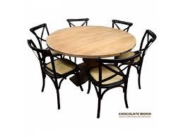 round back dining chairs utah dia 135cm mango wood round dining table 5 black cross