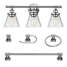 GLOBE <b>Bathroom Set</b> with Wall Sconce - <b>5 Pieces</b> - Chrome 51234 ...
