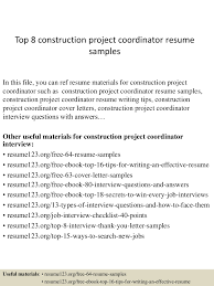 top8constructionprojectcoordinatorresumesamples 150331221818 conversion gate01 thumbnail 4 jpg cb 1427858341
