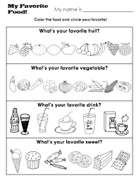 kindergarten worksheets descriptions sizes money weather food my favorite food what s your favorite fruit