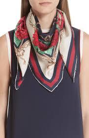 Women's Gucci <b>Rose</b> Chain <b>Foulard</b> Silk Twill <b>Scarf</b>, Size One Size ...