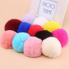 <b>Rabbit</b> fur ball keychain <b>8cm pompom</b> keychain car <b>pompon</b> DIY ...