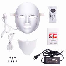 NEWEST 3/7 Colors <b>Photon</b> Electric <b>LED Facial Mask</b> with Neck ...