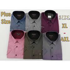 <b>Plus Size XL</b> - <b>4XL</b> 525 <b>Men</b> Striped Shirt Short Sleeve Regular Fit ...