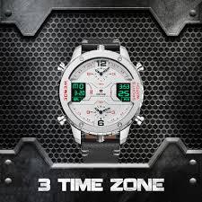 <b>WEIDE Mens Fashion</b> Sports <b>Casual</b> Three Time Zone Quartz ...