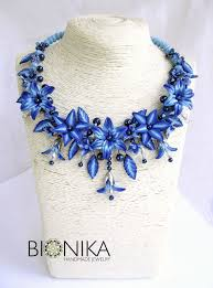 "<b>Necklace</b> with beads and <b>blue</b> flowers polymer clay ""Adele ..."