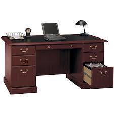 bush saratoga double pedestal manageraposs desk harvest cherry bush saratoga computer desk