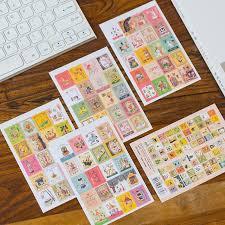 4 Sheets/<b>lot Kawaii Cartoon Korea</b> vintage Francoise Stamp Flakes ...
