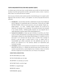 texto argumentativo for and against essay